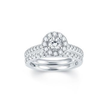Modern Bride Signature 1 CT T.W. Diamond Halo14K White Gold Engagement Ring