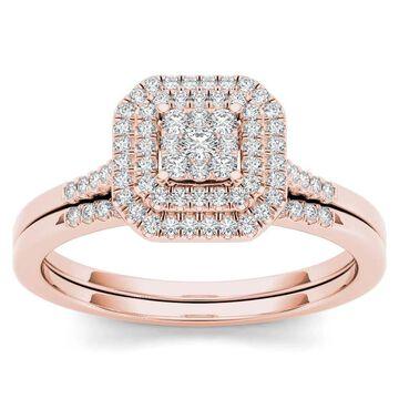 De Couer 10k Rose Gold 1/4ct TDW Diamond Cluster Halo Bridal Set (Size 8.5)