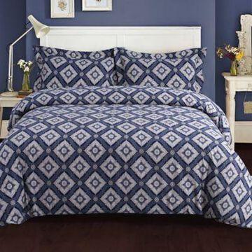 Tribeca Living King Damask Flannel Duvet Cover Set in Blue