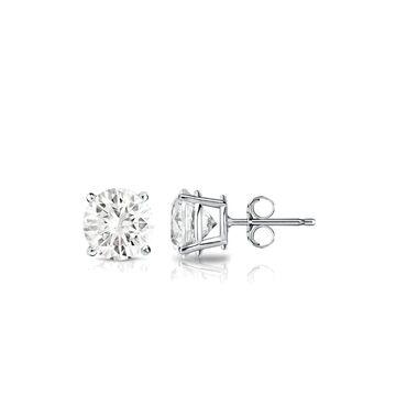 Auriya Platinum 1/2ctw Round Diamond Stud Earrings (White)