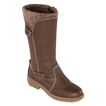 Totes Womens Abigail Waterproof Insulated Winter Boots Block Heel