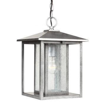 Sea Gull Lighting Hunnington Weathered Pewter Transitional Seeded Glass Lantern Mini Pendant Light | 62027-57