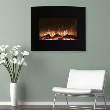 Northwest 25 inch Mini Curved Black Fireplace with Wall and Floor Mount
