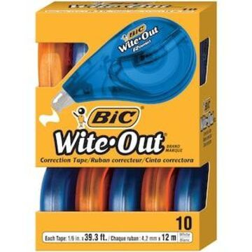 BIC Wite-Out Brand EZ Correct Correction Tape, Pack of 10