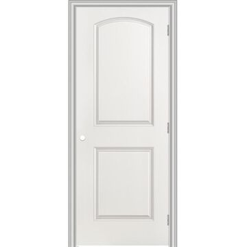 Masonite Roman 36-in x 80-in (Primed) 2-Panel Round Top Hollow Core Primed Molded Composite Left Hand Inswing/Outswing Single Prehung Interior Door