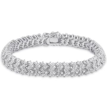 Finesque Sterling Silver 1ct TDW Diamond Cluster Bracelet