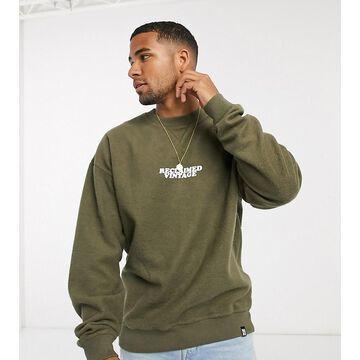 Reclaimed Vintage inspired overdyed brushed sweatshirt with logo in khaki-Green