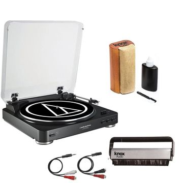 Audio-Technica AT-LP60USB Turntable w/ Knox Vinyl Brush Cleaner and Cleaning Kit