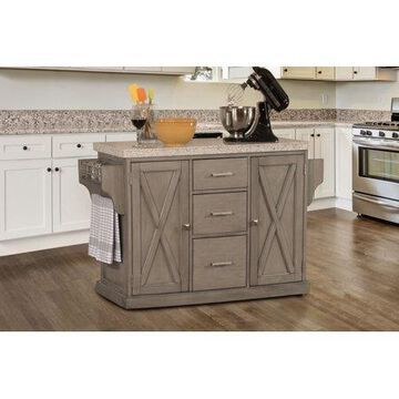 Hillsdale Furniture Brigham Wood Kitchen Island with Granite Top, Gray