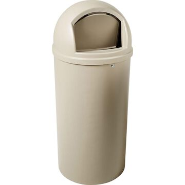 Rubbermaid Commercial Marshal Classic Container, Round, Polyethylene, 25gal, Beige