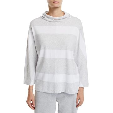Petite 3/4-Sleeve Mock-Neck Striped Tunic Pullover