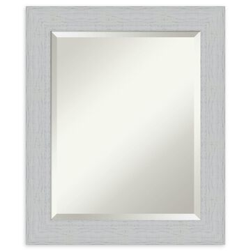 Amanti Art Shiplap White Framed Bathroom Mirror