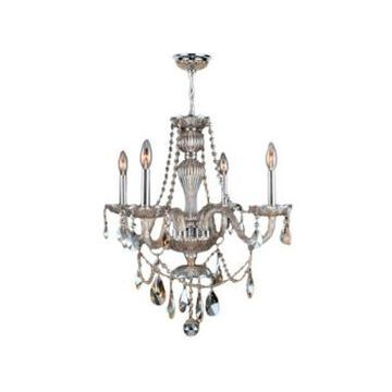 Worldwide Lighting Provence 4-Light Chrome Finish and Crystal Chandelier