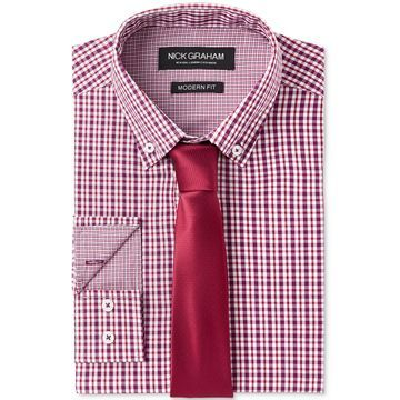Men's Fitted Multi Gingham Dress Shirt & Micro Solid Dobby Tie Set