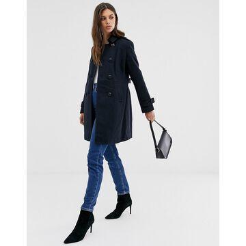 Fashion Union smart longline double breasted coat-Navy