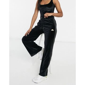 ellesse high waist sweatpants in black and gold