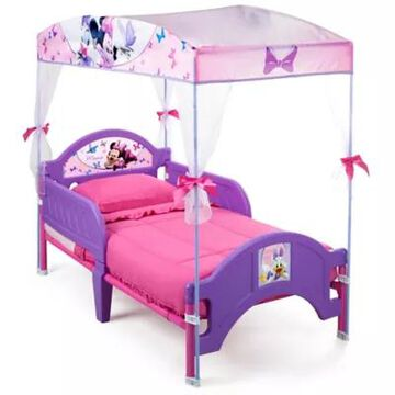 Delta Children Disney Minnie Mouse Canopy Toddler Bed In Pink Rustic Grey