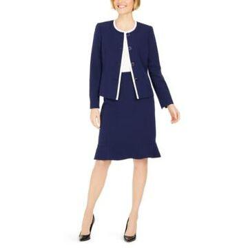 Le Suit Petite Flounce-Hem Skirt Suit