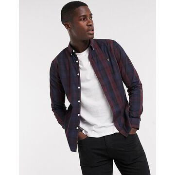 Farah Brewer slim fit plaid shirt in burgundy/navy-Red
