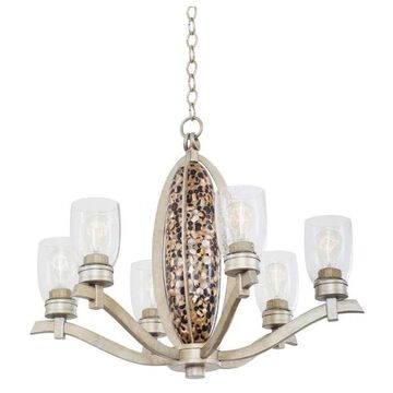 Largo 6-Light Chandelier, Tarnished Silver, Clear Seeded Glass