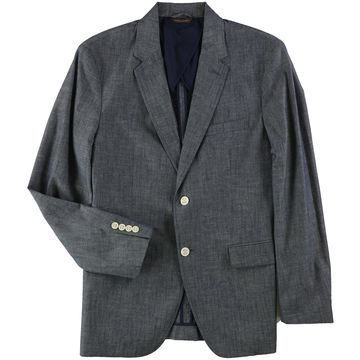 Tasso Elba Mens Chambray Two Button Blazer Jacket