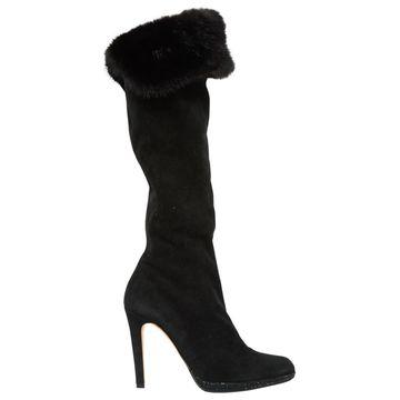 Rene Caovilla Black Suede Boots