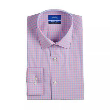 Men's Apt. 9 Premier Flex Slim-Fit Spread-Collar Dress Shirt, Size: Small 32-33, Light Pink