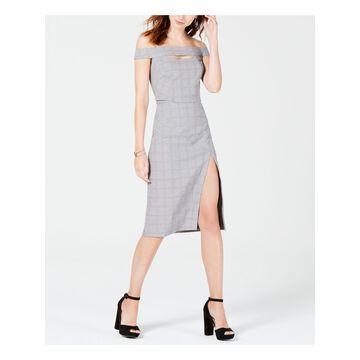 XOXO Womens Gray Plaid Short Sleeve Off Shoulder Knee Length Sheath Formal Dress Juniors Size: XS