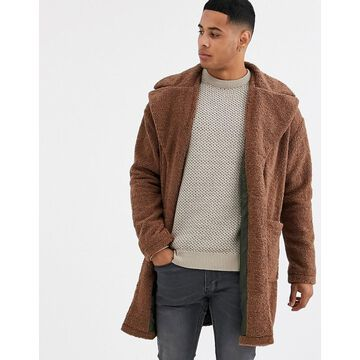 Only & Sons teddy over coat in tan