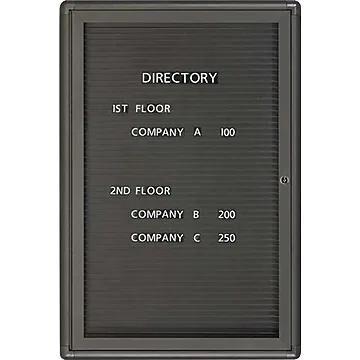 Quartet Radius Design Changeable Letter Directory, 1-Door, Graphite Finish Frame, 2'W x 3'H