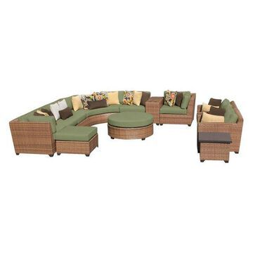 TK Classics Laguna 12-Piece Outdoor Wicker Sofa Set, Cilantro