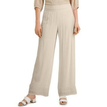 Jm Collection Crochet-Trim Wide-Leg Pants, Created for Macy's