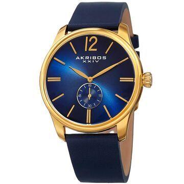Akribos XXIV Men's Royal Blue Leather Gold-Tone Strap Watch (Gold-tone/Blue)