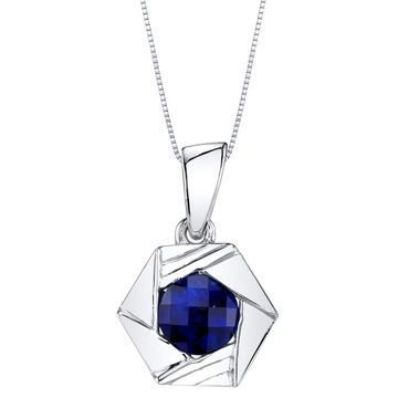 Oravo Created Sapphire Sterling Silver Cirque Pendant Necklace - Blue