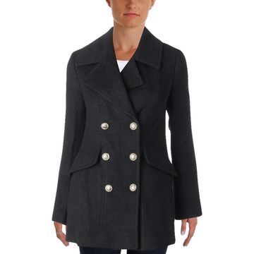 Karl Lagerfeld Paris Womens Fall Wool Blend Pea Coat