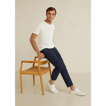 MANGO MAN - Pocket 100% linen t-shirt white - S - Men