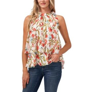 CeCe Floral-Print Tiered Top