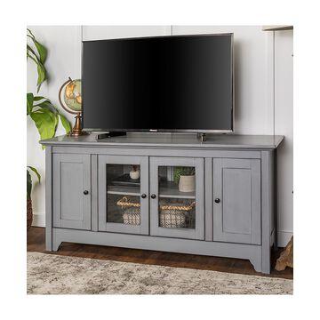 Walker Edison Media Stands Antique - Antique Gray Wood TV Stand