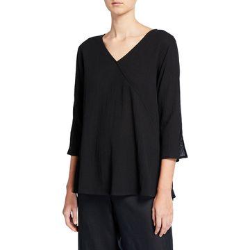 Plus Size Havana V-Neck 3/4-Sleeve Crinkle Cotton Top