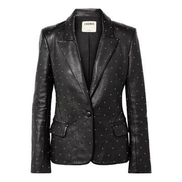 L'Agence - Montegoi Studded Leather Blazer - Black
