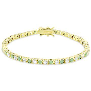 Dolce Giavonna Gold Over Sterling Silver Ruby and White Topaz Tennis Bracelet