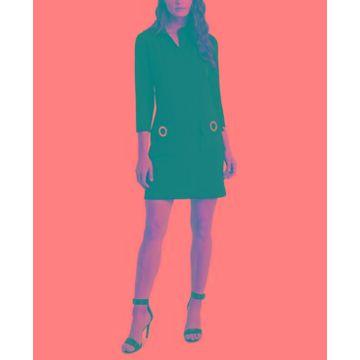 Msk Scuba 3/4-Sleeve Grommet-Pocket A-Line Dress