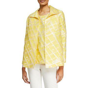 Plus Size Citrus Abstract-Print Jacquard Jacket