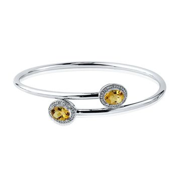 Auriya 2ct Oval Yellow Citrine Gold over Silver Bangle Bracelet with Diamond Accents (White)