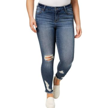 Celebrity Pink Womens Plus Denim Mid Rise Ankle Jeans
