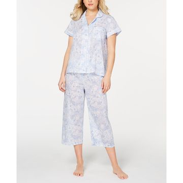 Notch Collar Top and Cropped Pants Printed Cotton Pajama Set