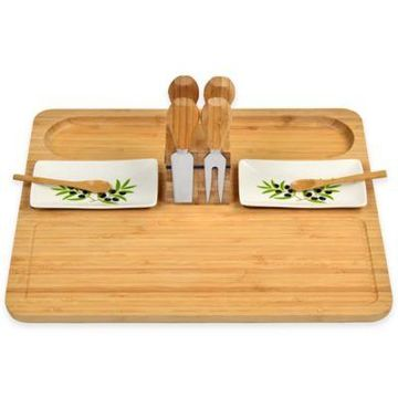 Picnic At Ascot Sherborne 7-Piece Bamboo Bread and Cheese Set