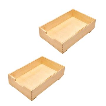 Rev-A-Shelf 4WDB-15 14 Inch Wood Pull Out Organization Drawer, Maple (2 Pack)