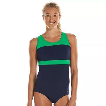 Women's Dolfin Aquashape Conservative Colorblock One-Piece Lap Swimsuit, Size: 6 COMP, Blue