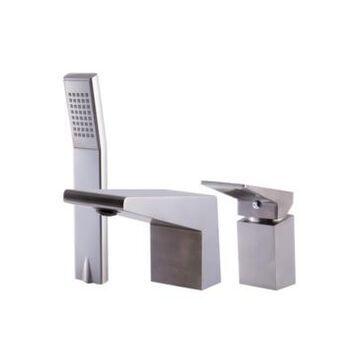 Alfi brand Brushed Nickel Deck Mounted 3 Hole Tub Filler Shower Head Bedding